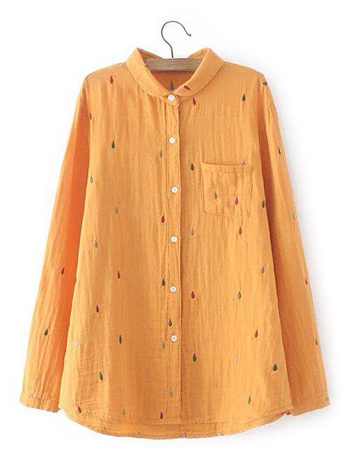 Plus Size Chest Pocket Embroidered Shirt - YOLK YELLOW 2XL