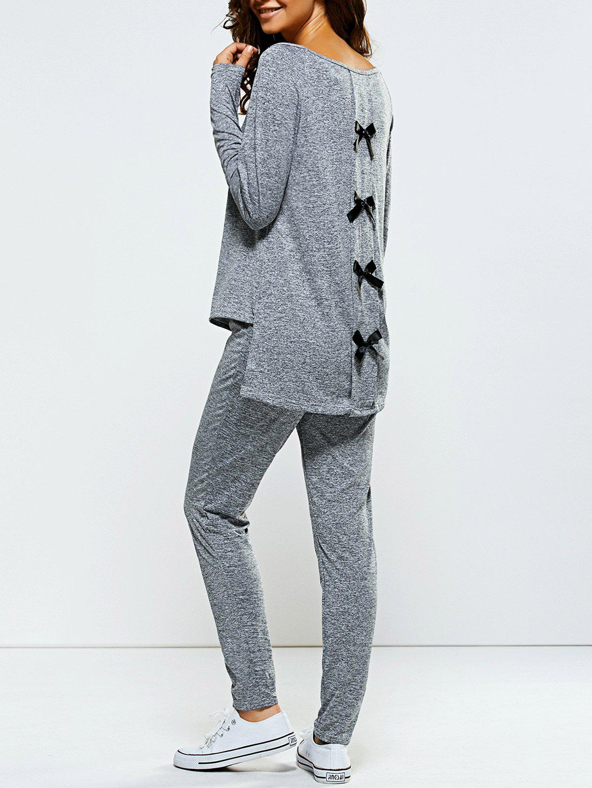Bowknot Embellished Asymmetrical Sports SuitWomen<br><br><br>Size: S<br>Color: GRAY