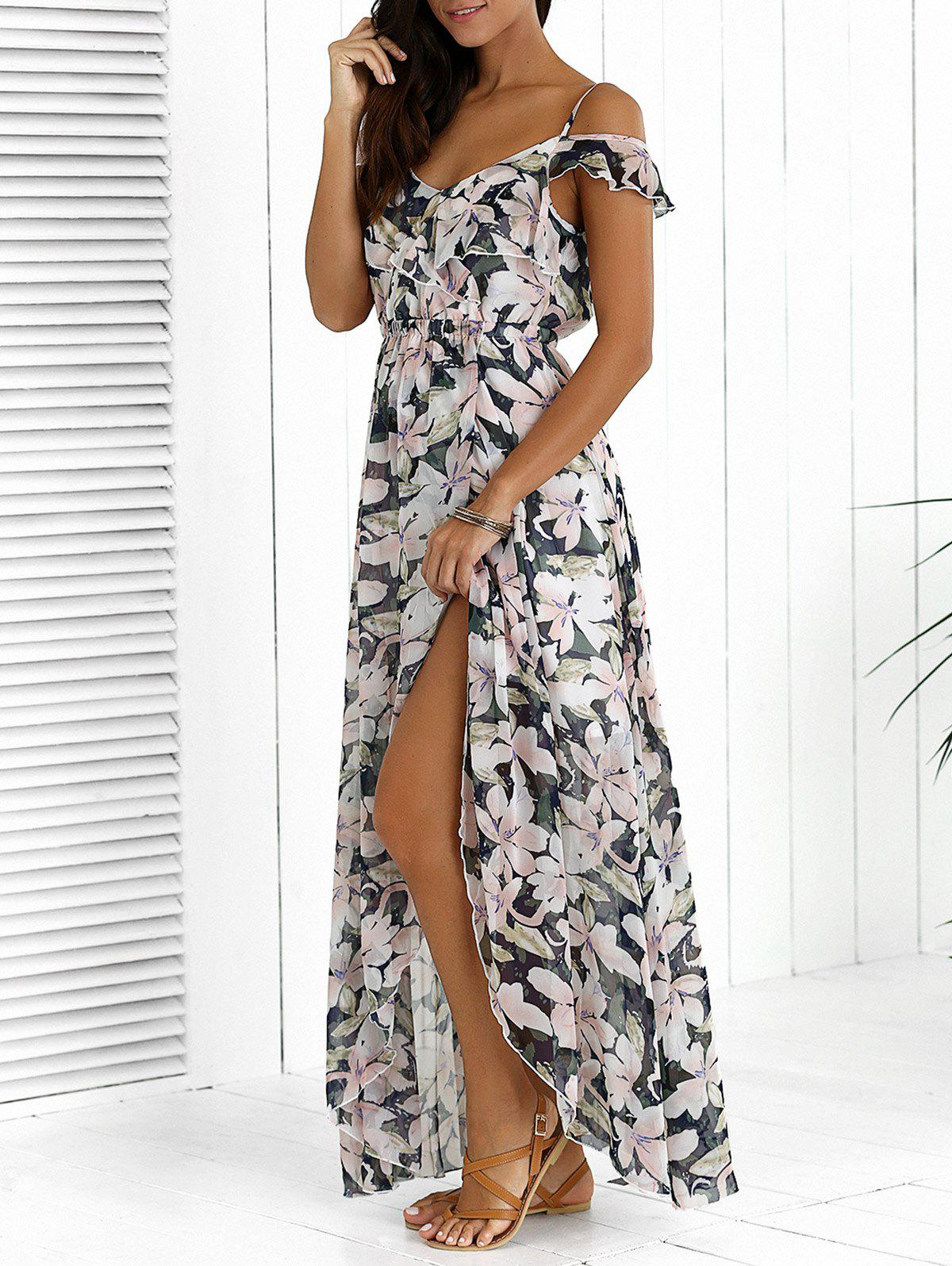Asymmetric High Slit Floral Print Maxi Dress - COLORMIX XL