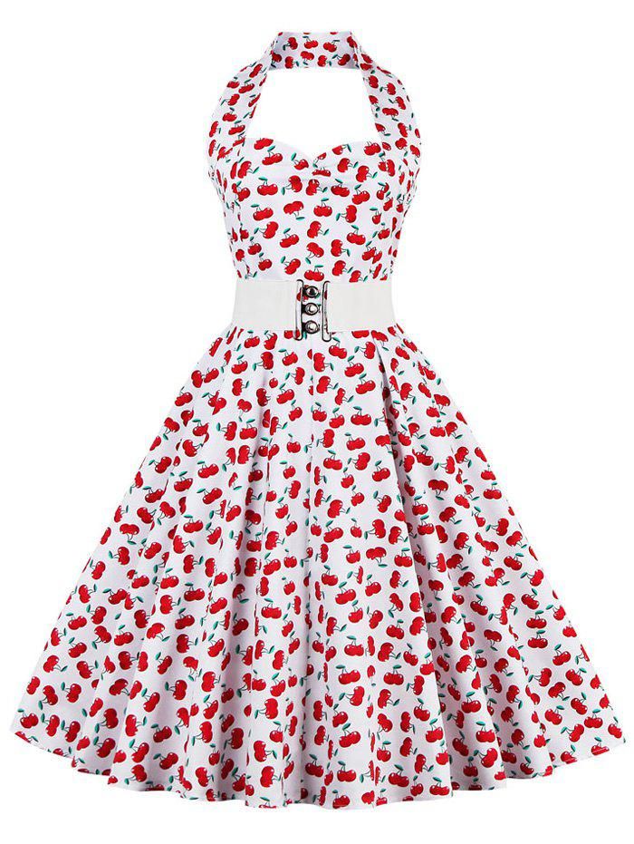 Cherry Print Halter Vintage Swing A Line Dress - Rouge 4XL