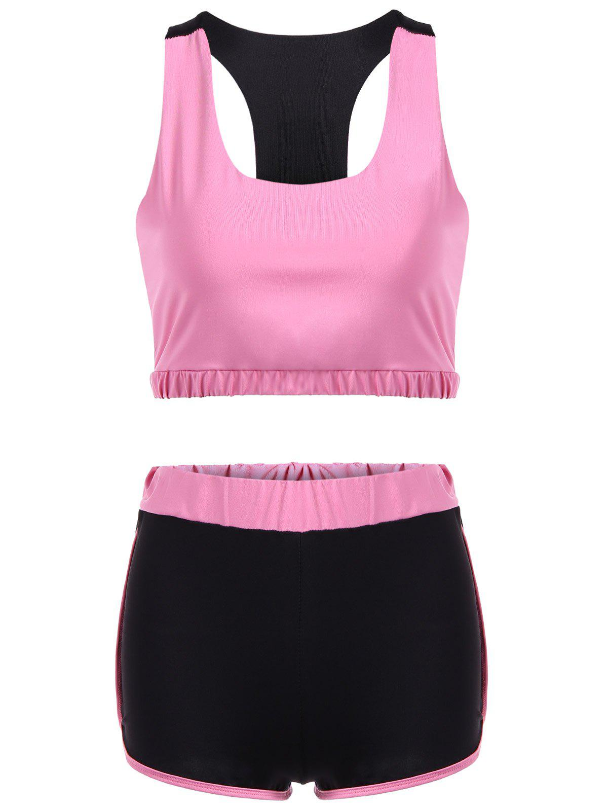 Racerback U Neck Sporty Bra and Shorts Twinset racerback u neck sporty bra and color block shorts twinset