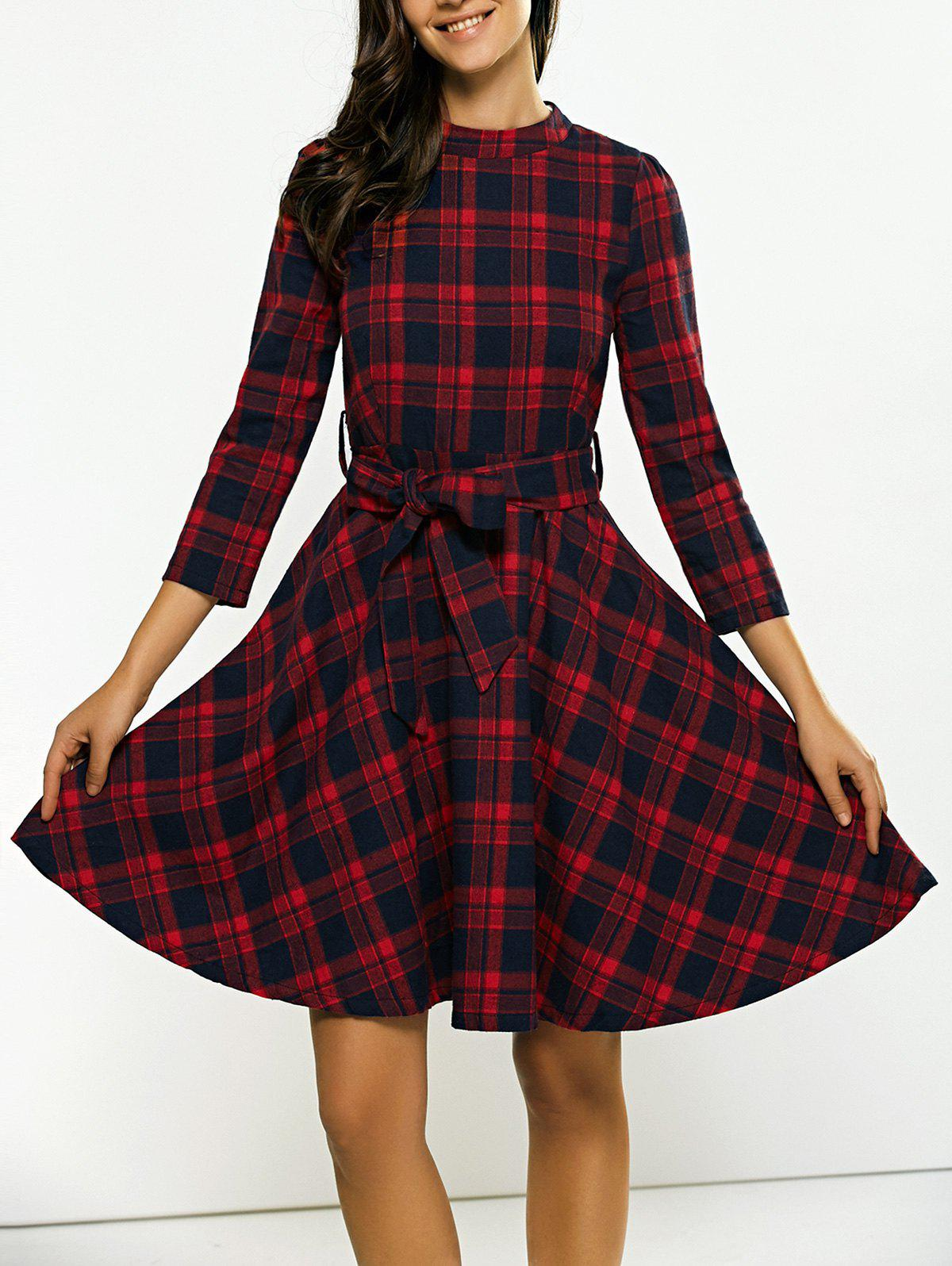 Pied de col Tie-Waist Plaid Dress - Rouge L