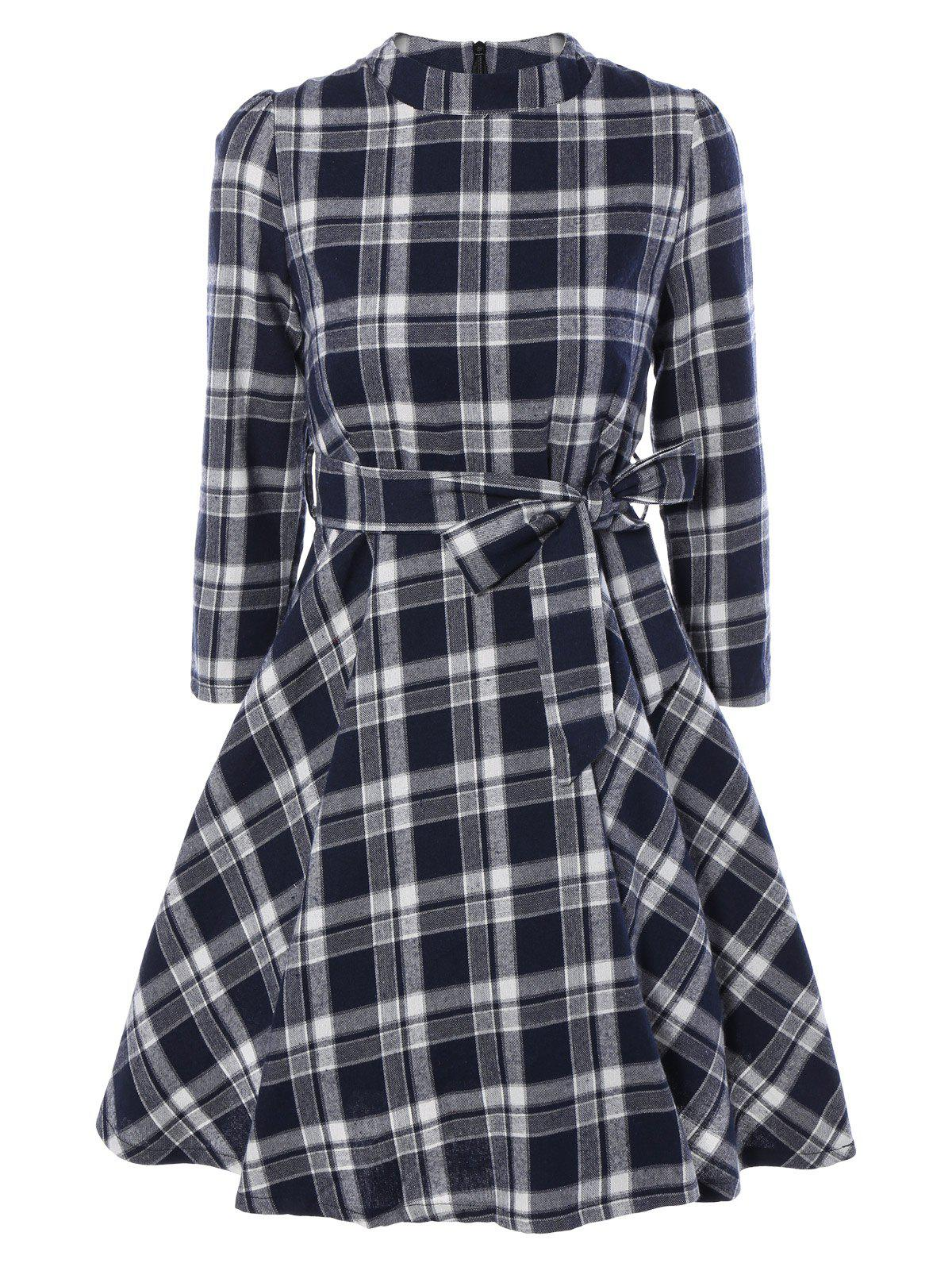 Pied de col Tie-Waist Plaid Dress - Bleu Cadette XL
