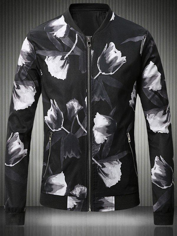 3D Rose Print Stand Collar Plus Size Bomber Jacket 3d poster print stand collar jacket