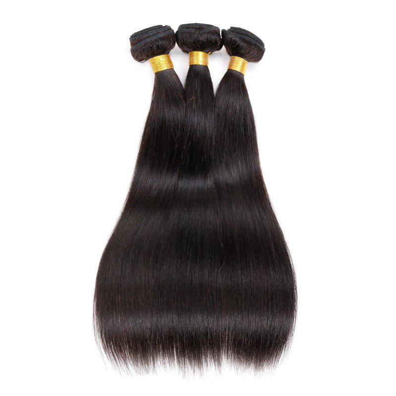 6A Virgin 1 Pcs Straight Brazilian Hair Weaves - BLACK 10INCH