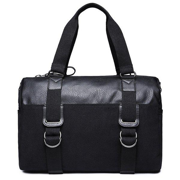 Metal Splicing Canvas Briefcase - Noir