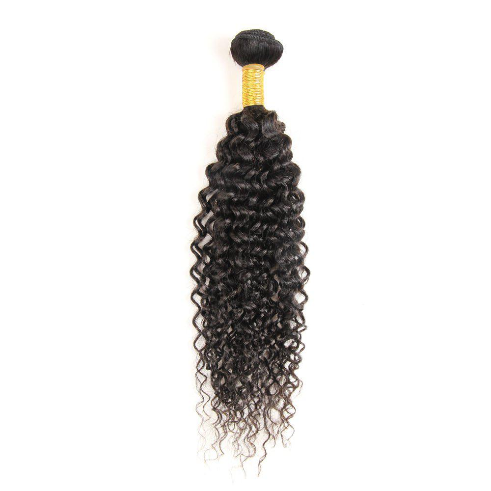 6A Virgin 1 Pcs Kinky Curly Brazilian Hair Weaves - BLACK 10INCH