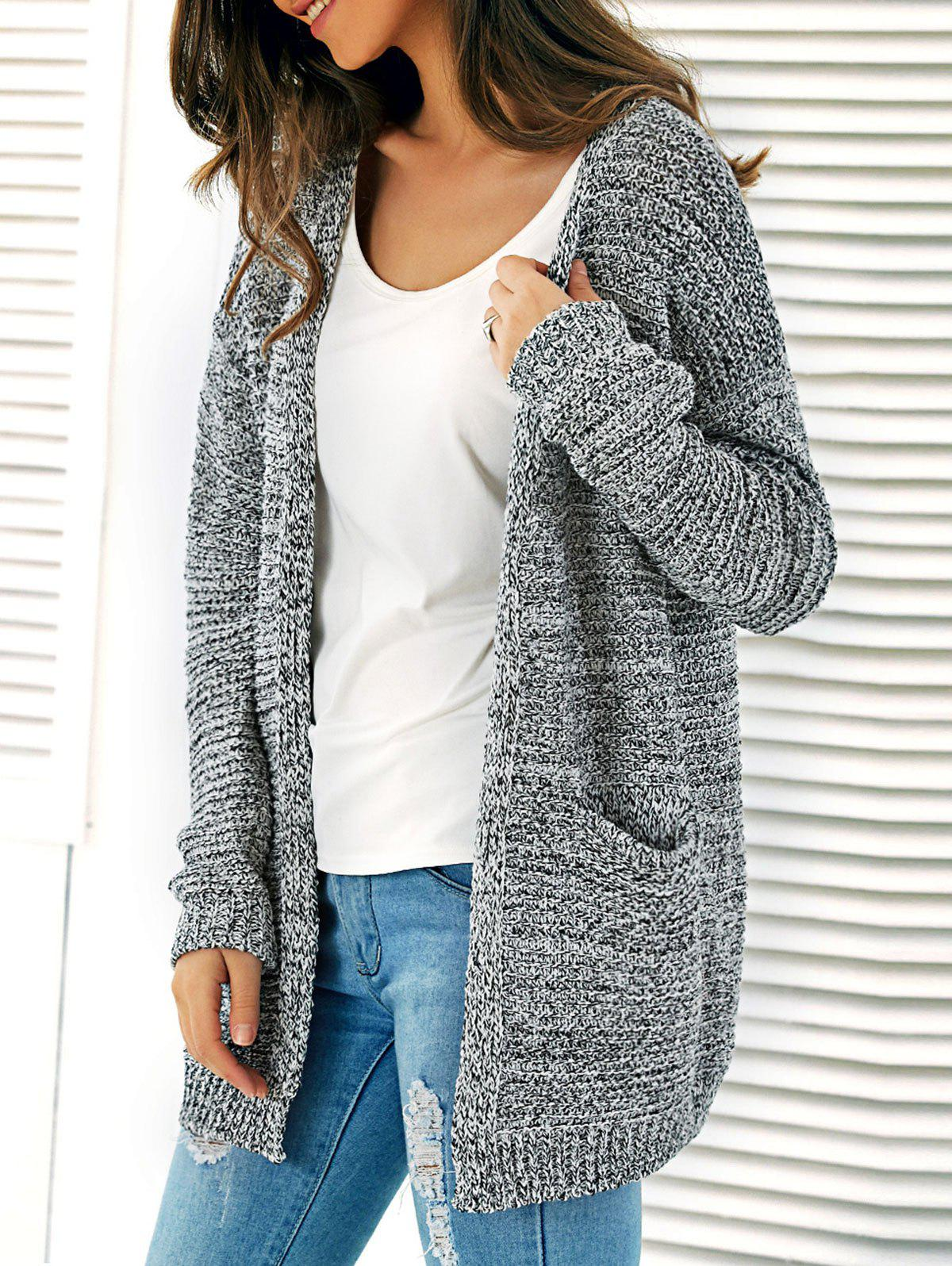 Knitted Open Front Cardigan With Pockets - GRAY ONE SIZE