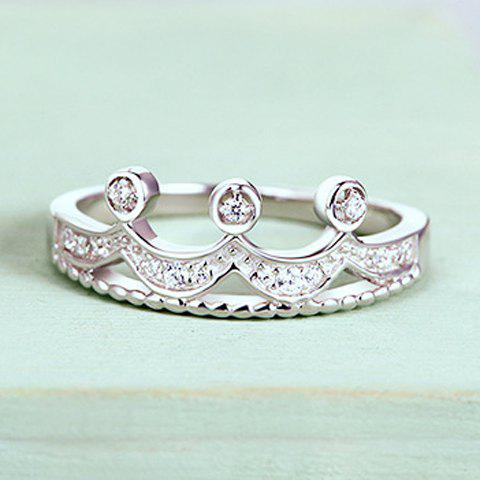 Chic Simple Style Rhinestone Crown Ring For Women - WHITE GOLDEN ONE-SIZE