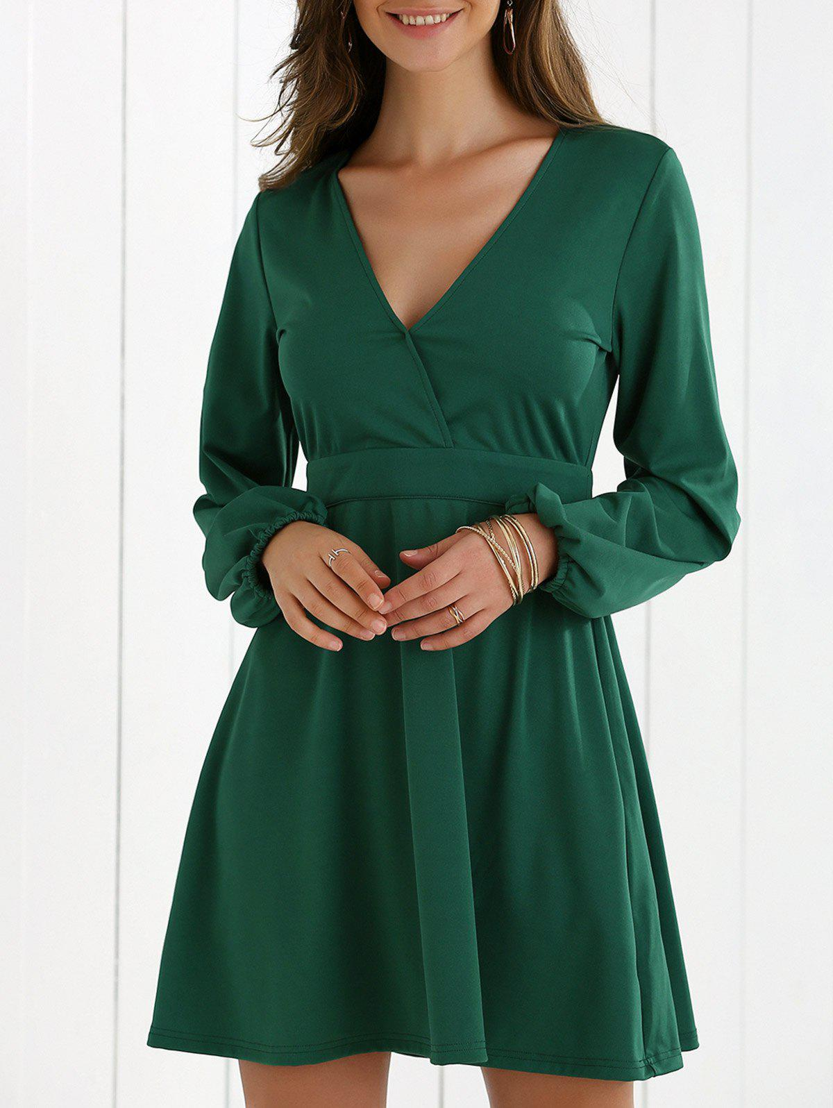 Low Cut Fit and Flare Dress - DEEP GREEN XL