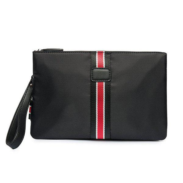 Splicing Color Block Nylon Clutch Bag - BLACK