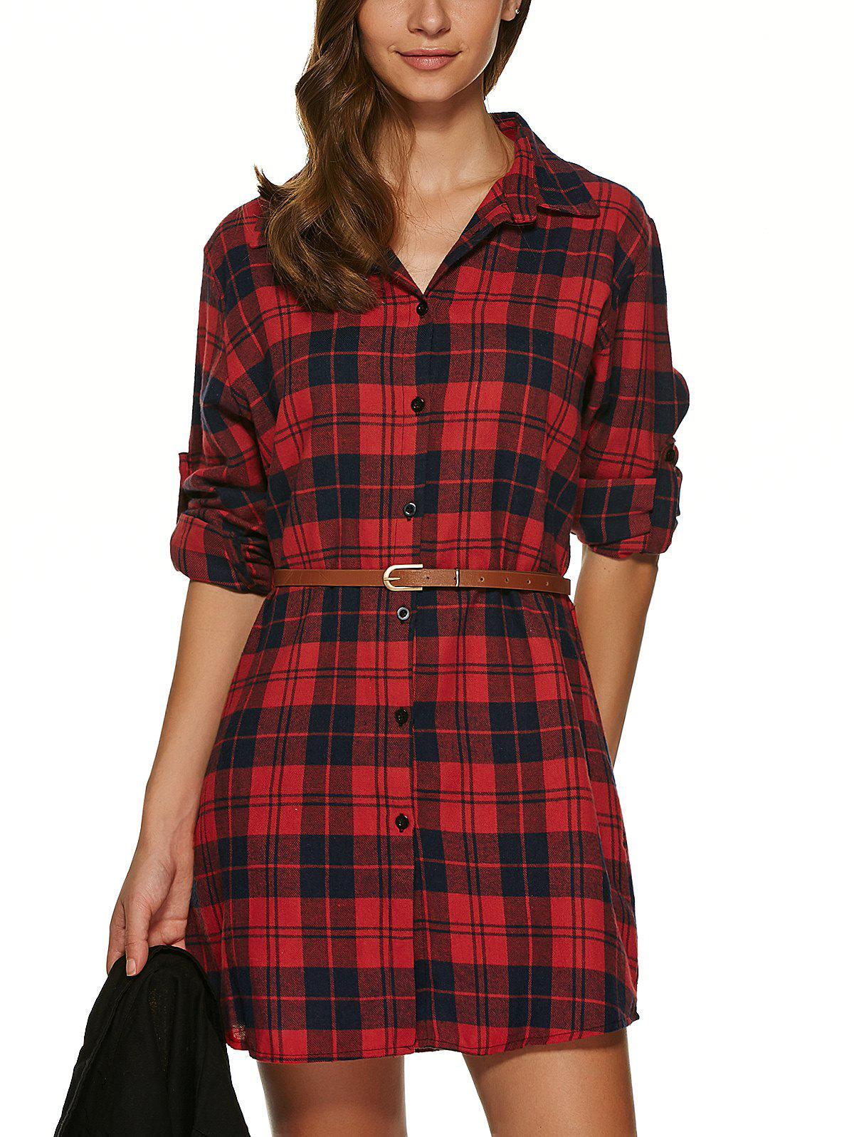 Long Sleeve Plaid Tunic Flannel Shirt Dress - DEEP RED S