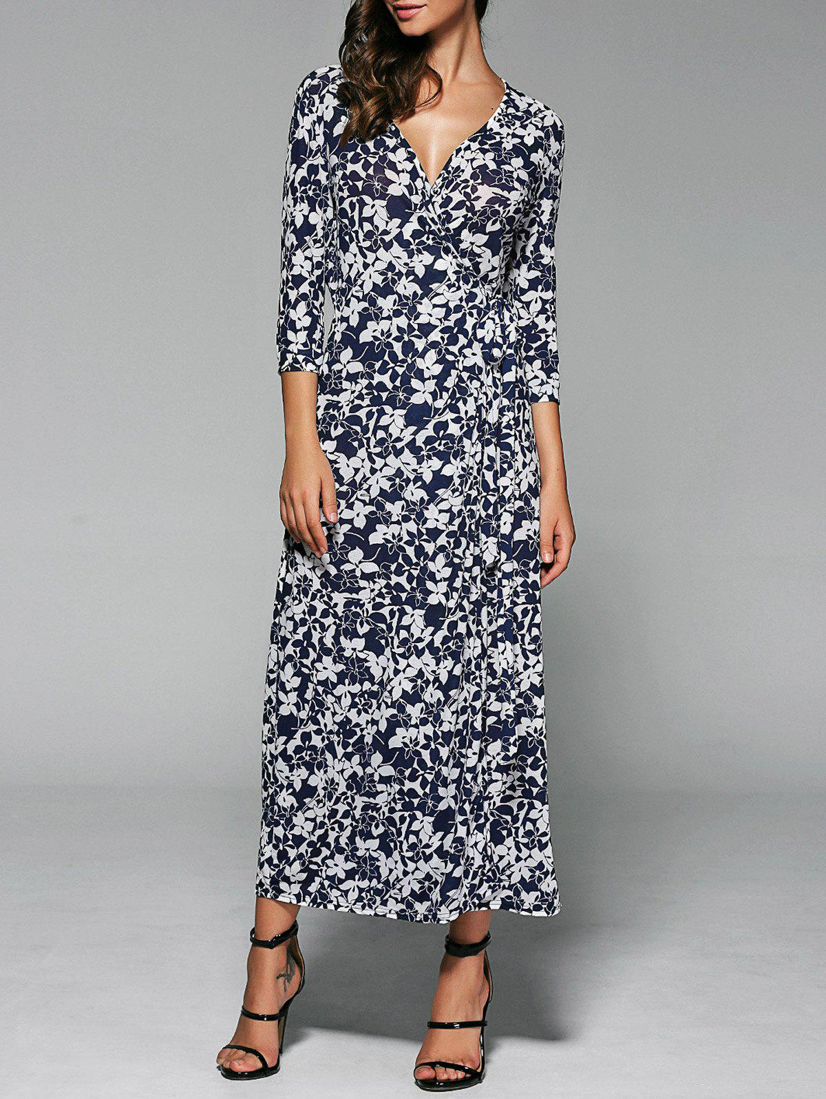 Floral Print Wrap Front Slit Maxi Summer Dress - PURPLISH BLUE L