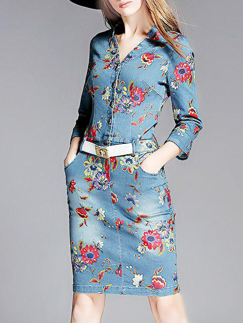 Button Front Print Denim Dress - DENIM BLUE S