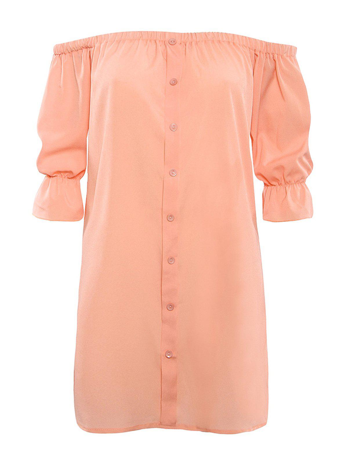 Off The Shoulder Button Design Mini Dress - NUDE PINK L