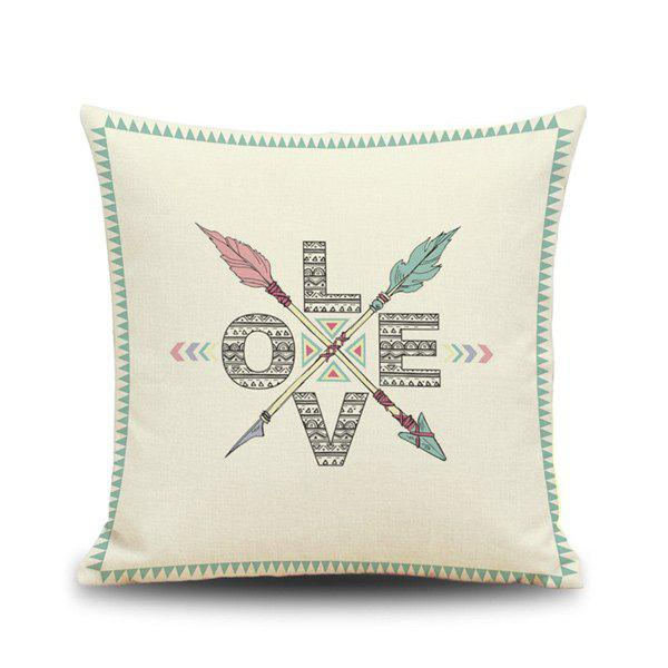 National Flavor Totem English Letters Pattern Square Shape Pillowcase (Without Pillow Inner) - BEIGE