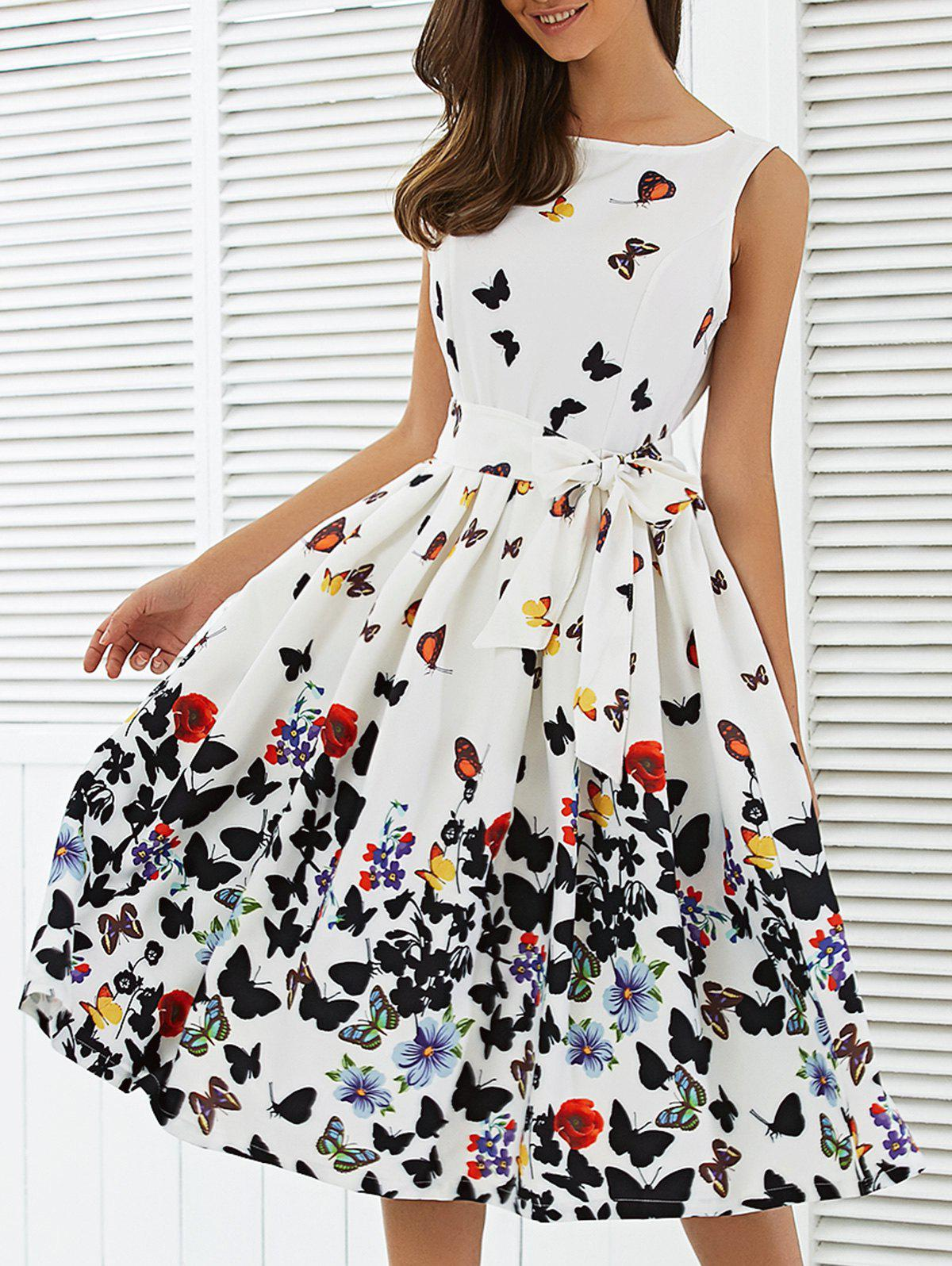 Sleeveless Floral Print Self Tie A Line Dress pse 2200