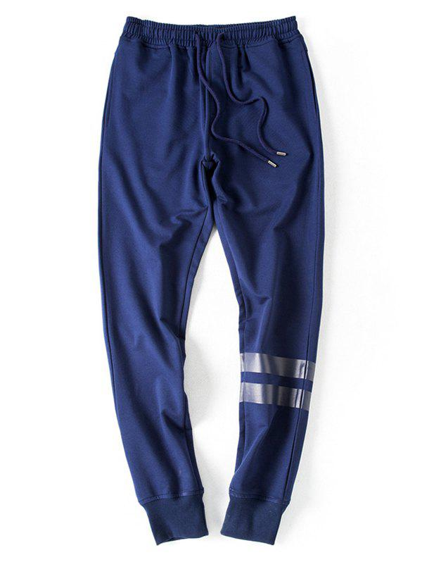 Striped Embellished Lace-Up Beam Feet Jogger Pants men side striped embellished jogger