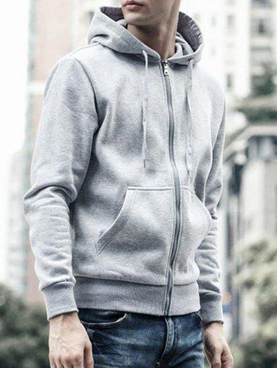 Capuche Manches Longues Drawstring Basic Zip-Up Hoodie - Gris 2XL