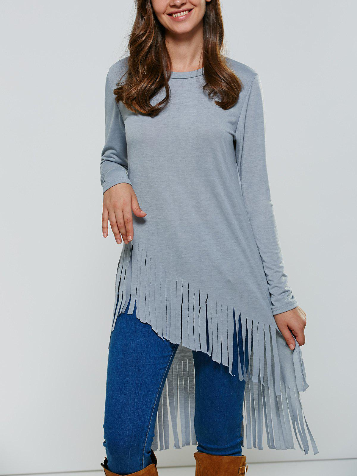 Fringed High Low T-ShirtWomen<br><br><br>Size: S<br>Color: BLUE GRAY