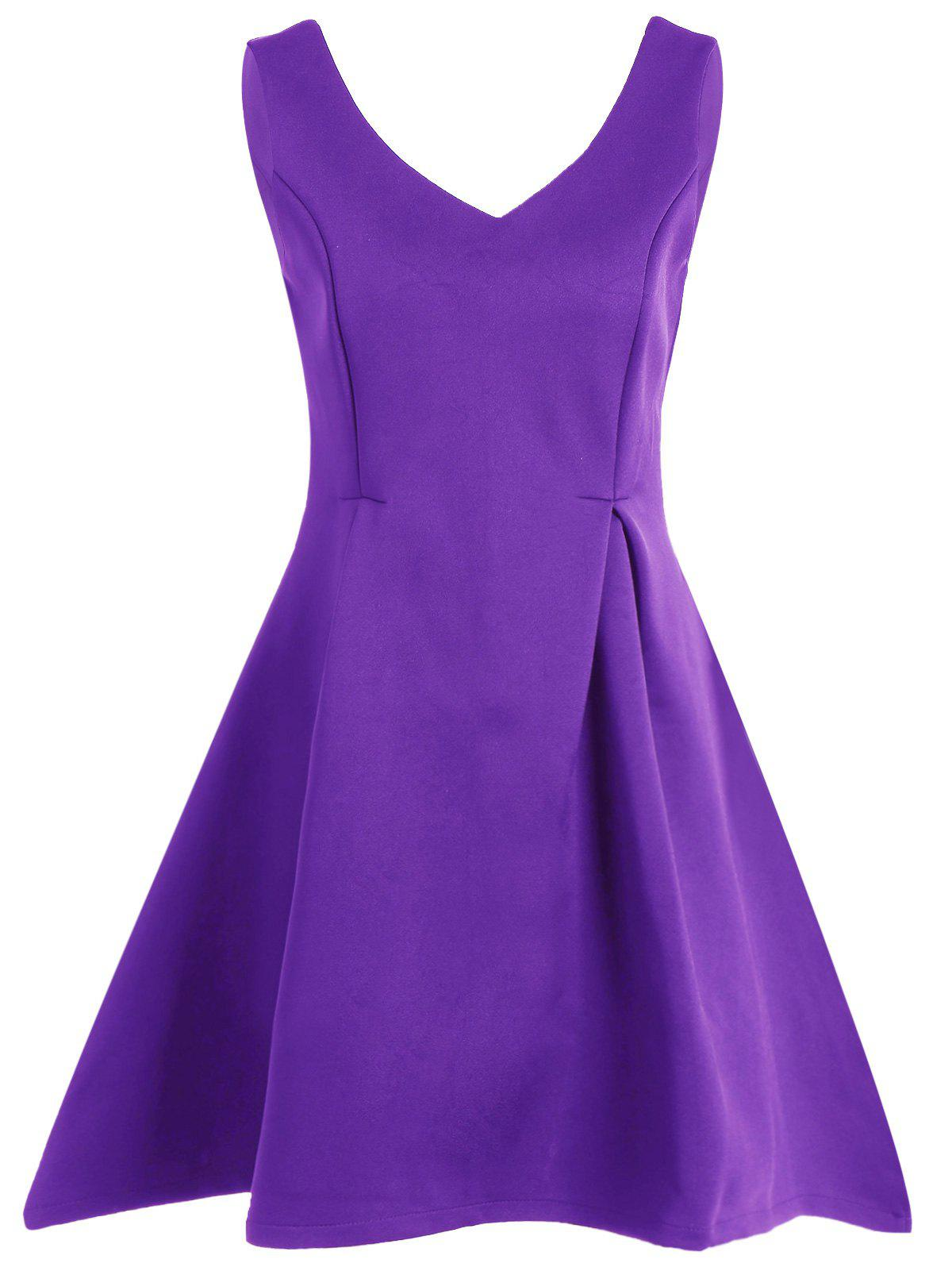 Sleeveless Fit and Flare Mini DressWomen<br><br><br>Size: M<br>Color: PURPLE