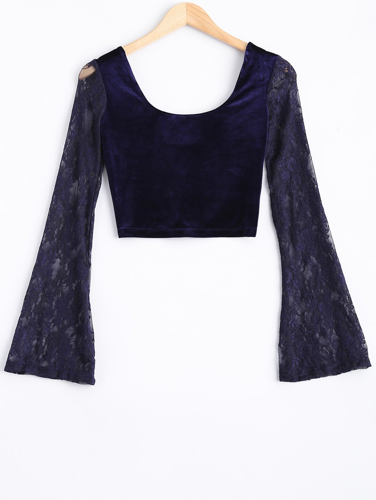 Dentelle de Bell Sleeve Velvet Crop Top - Bleu ONE SIZE
