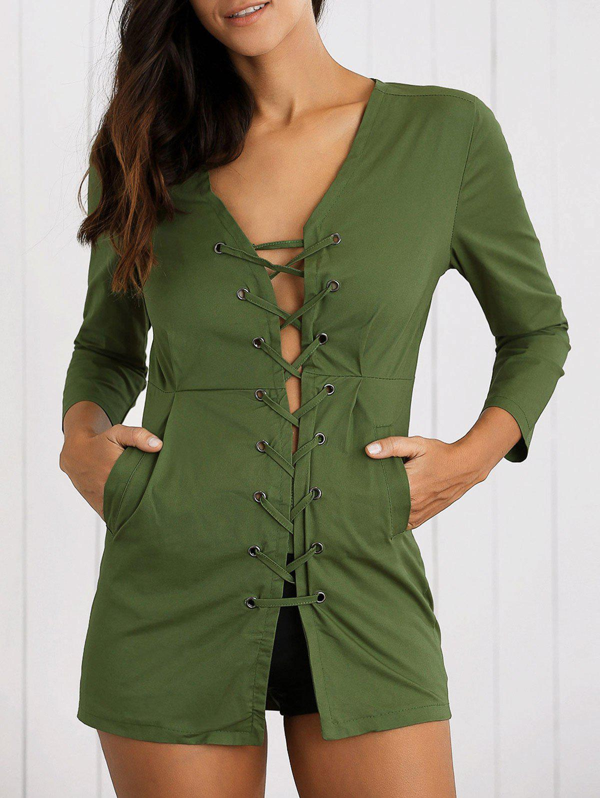 Buy Lace-Up High Waist Jacket ARMY GREEN