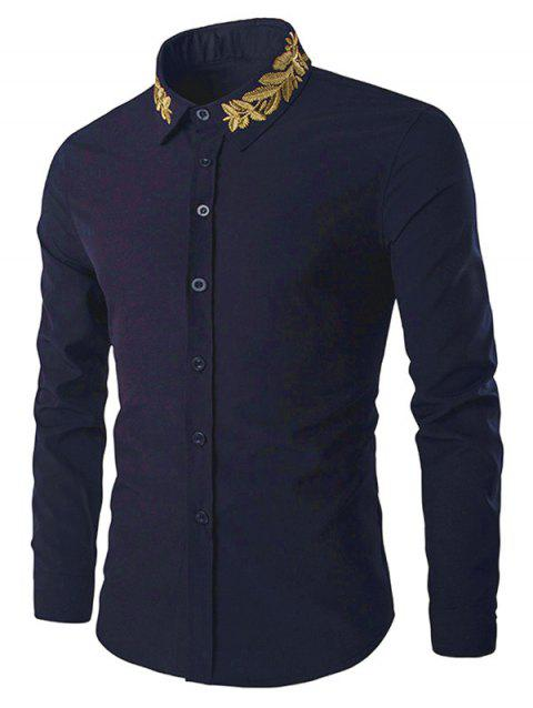 Shirt Collar Golden Leaves Embroidered Long Sleeves Shirt - CADETBLUE 2XL