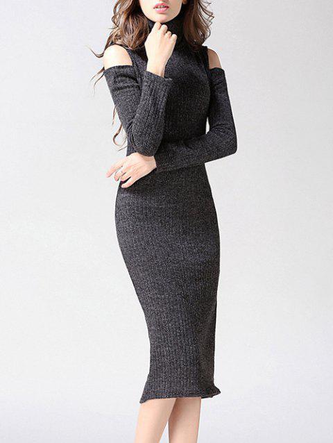 Knitted Cut Out Slimming Dress - GRAY M