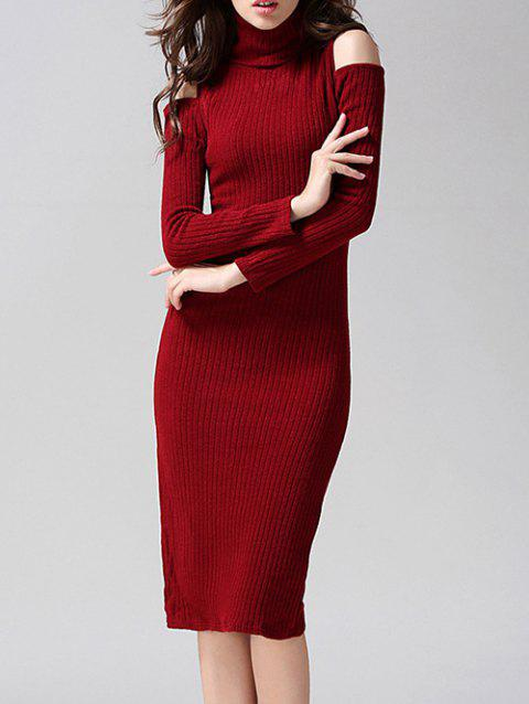 2018 Knitted Cut Out Slimming Dress Deep Red L In Sweater Dresses