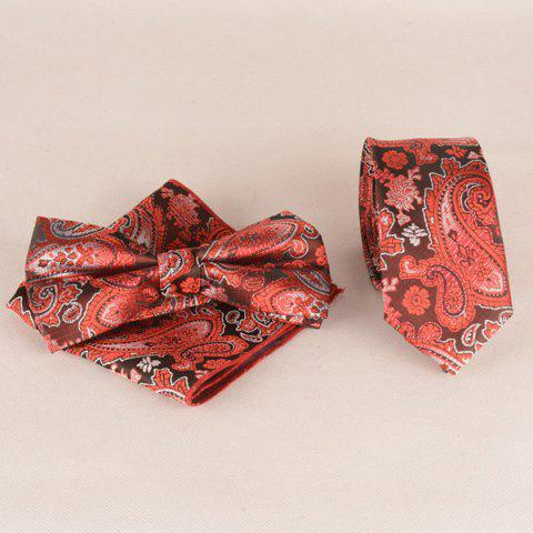 Casual Passionate Paisley Jacquard Neck Tie Set - RED