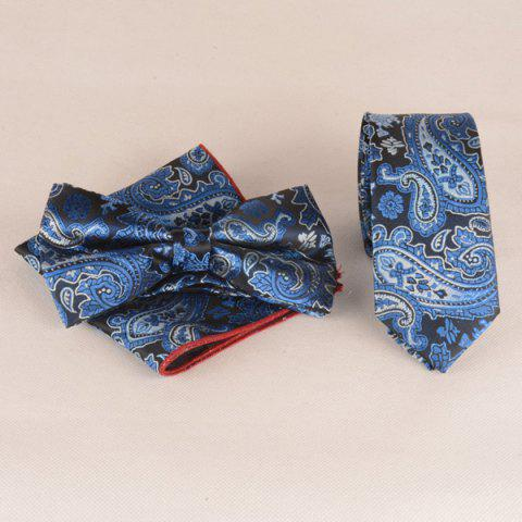 Casual Nautical Style Paisley Jacquard Neck Tie Set - NAVY BLUE