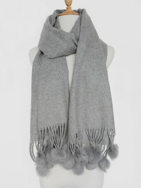 Small Fuzzy Ball Pendant Solid Shawl Scarf - GRAY