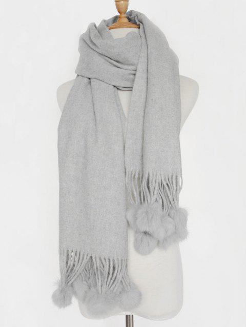 Small Fuzzy Ball Pendant Solid Shawl Scarf - LIGHT GRAY