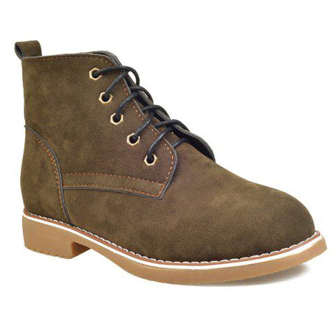 Flat Heel Lace-Up Suede Short Boots - ARMY GREEN 38