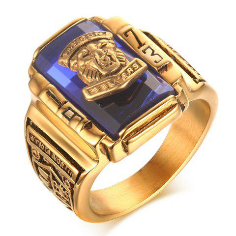 Faux Sapphire Emboss Geometric Tiger Head Ring - BLUE 10