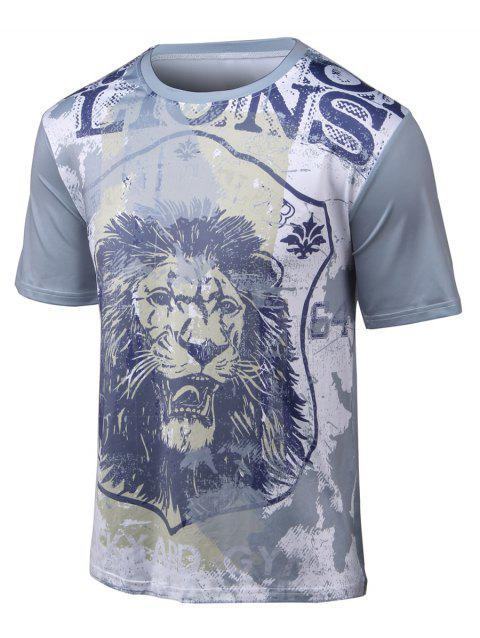 Round Neck Short Sleeve 3D Lion Print T-Shirt - GRAY L
