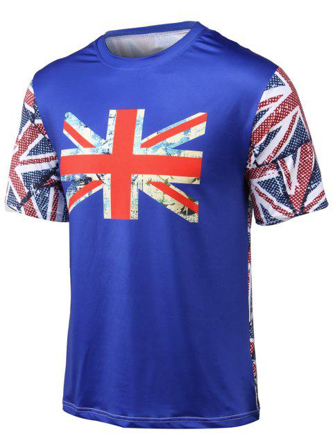 Round Neck Flag Printed Short Sleeve T-Shirt - BLUE XL