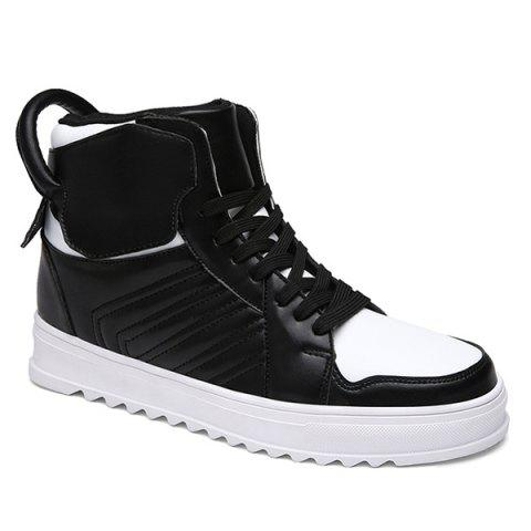 Lace Up Leather High Top Casual Shoes - WHITE/BLACK 44