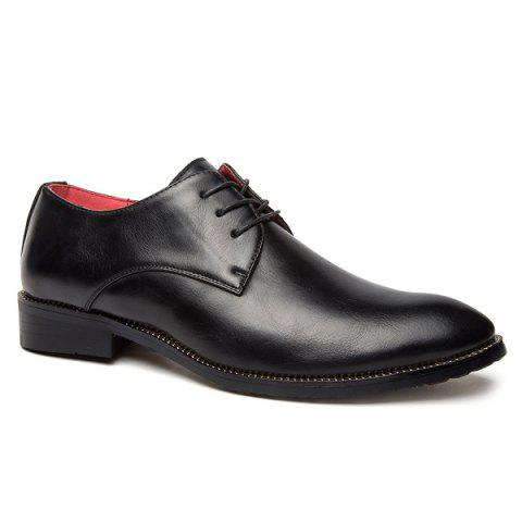 Point Toe Tie Up Leather Casual Shoes - BLACK 41