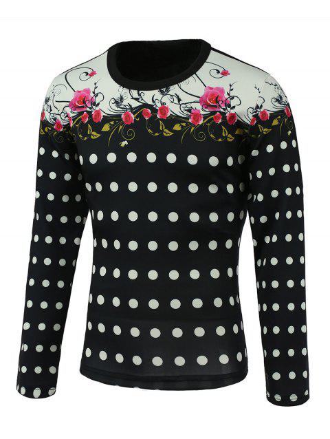 Round Neck Long Sleeve Floral and Polka Dot Print Splicing Design Sweatshirt - COLORMIX M