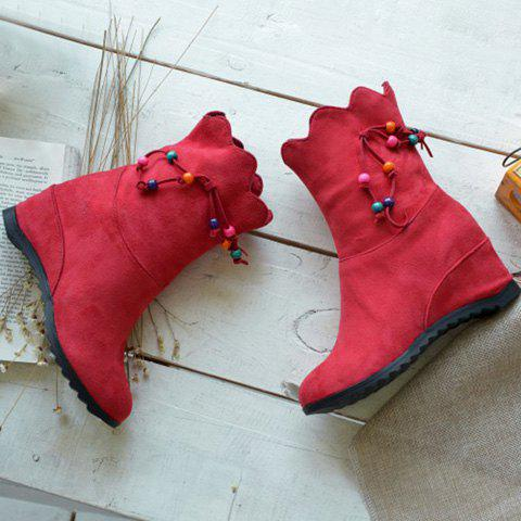 Scalloped Edge Beading Boots - RED 38
