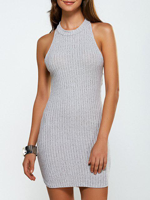 Cut Out Backless Knitted Vest Jumper Dress - LIGHT GRAY L