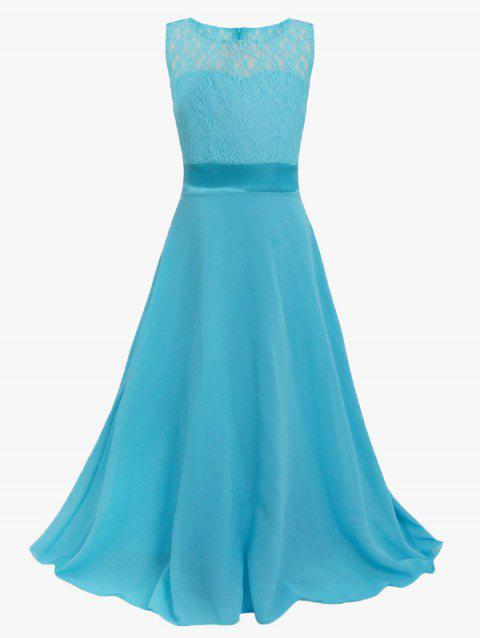 Bowknot Embellished Sleeveless Lace Maxi Prom Dress - LAKE BLUE 130
