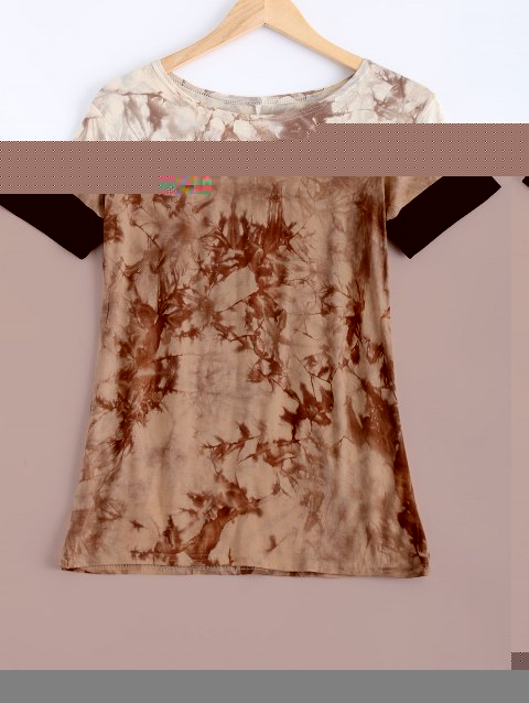 Short Sleeve Tie-Dyed T-Shirt - APRICOT M