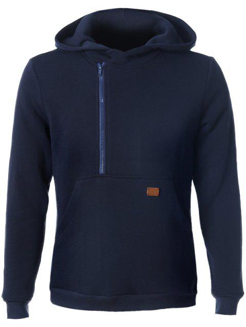 Long Sleeve Side Zip Up Pocket Front Hoodie - CADETBLUE L