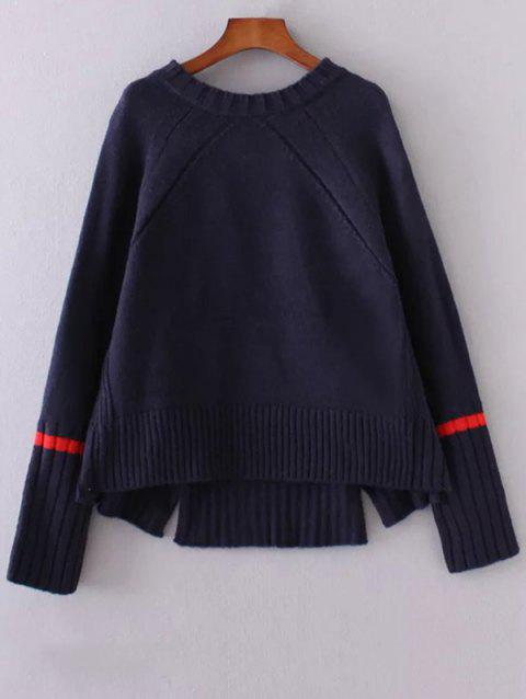 a72f254d1fc Round Neck Long Sleeve High-Low Slit Sweater - PURPLISH BLUE ONE SIZE