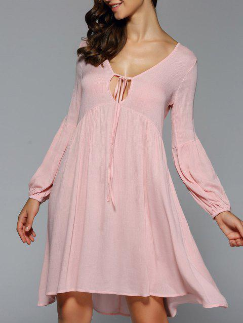 Long Lantern Sleeve Bow Tie Swing Dress - NUDE PINK L