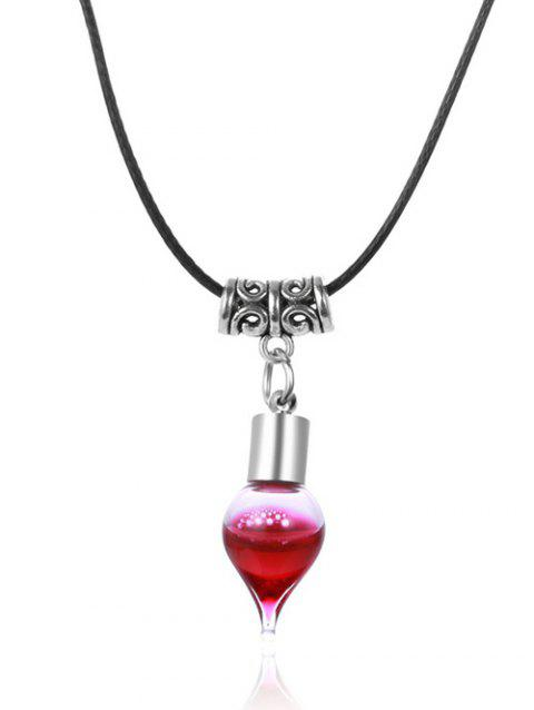 Faux Leather Rope Blood Halloween Necklace - BLACK