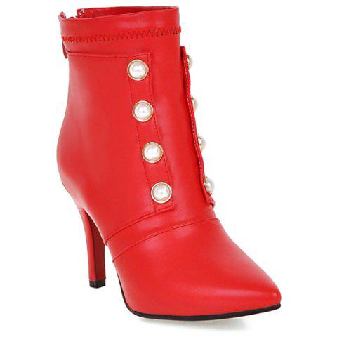 Zipper Pointed Toe Faux Pearls Short Boots - RED 38